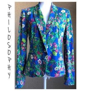 Philosophy Blazer Floral Single Button Womens Sz 8